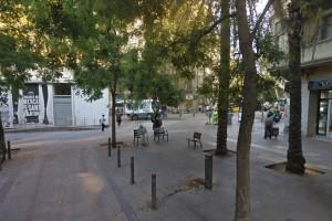 La plaça del pes de la palla actualment, a tocar de la Ronda Sant Antoni de Barcelona